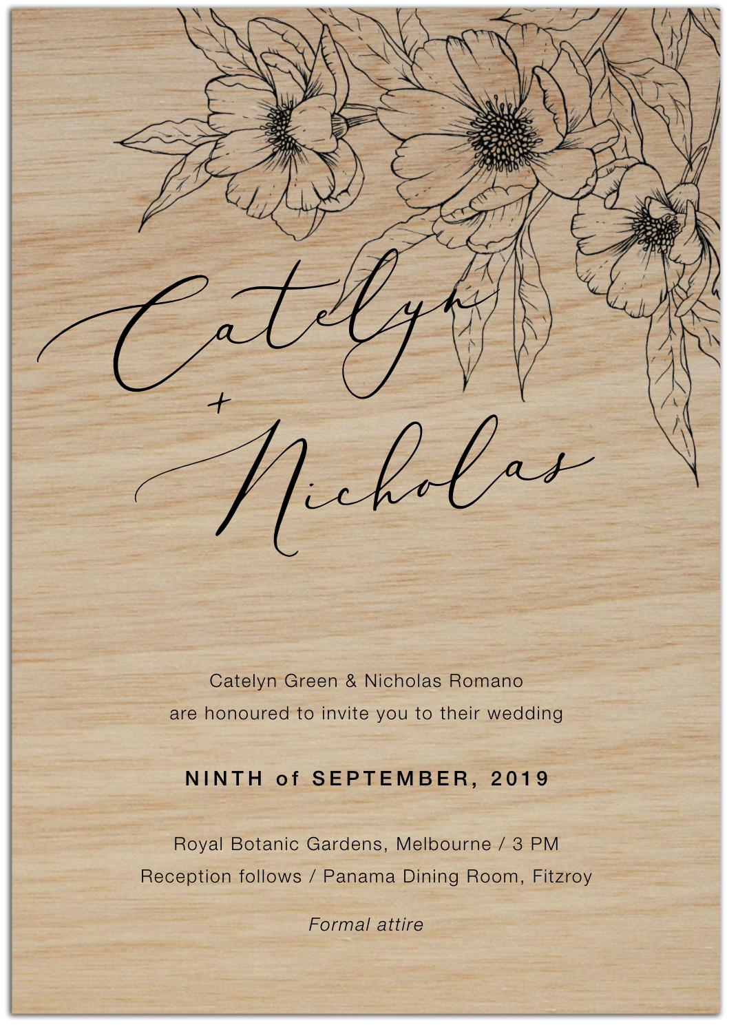 wood modern wedding invitation
