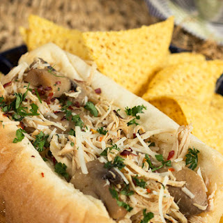 Slow Cooker Chicken Philly Cheesesteak Sandwich.