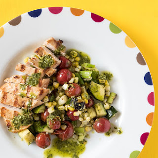 Lime Grilled Chicken with Vegetables and Herb Sauce Recipe