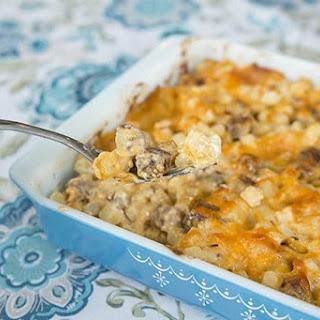 Cheesy Mushroom & Sausage Breakfast Casserole.