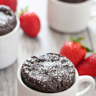 4 Ingredient Flourless Chocolate Mug Cake.