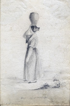 Photo: Pencil sketch of a Welsh woman carrying water by A. R. Wallace in 18??. Copyright The A. R. Wallace Memorial fund.