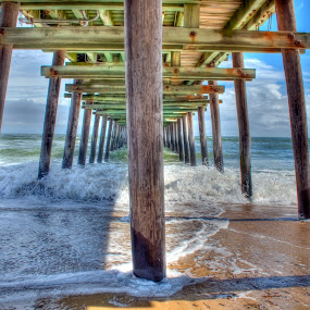 Under Pier by Nathaniel Jorge - Landscapes Beaches ( hdr, waves, summer, pier, fishing, beach, va beach,  )
