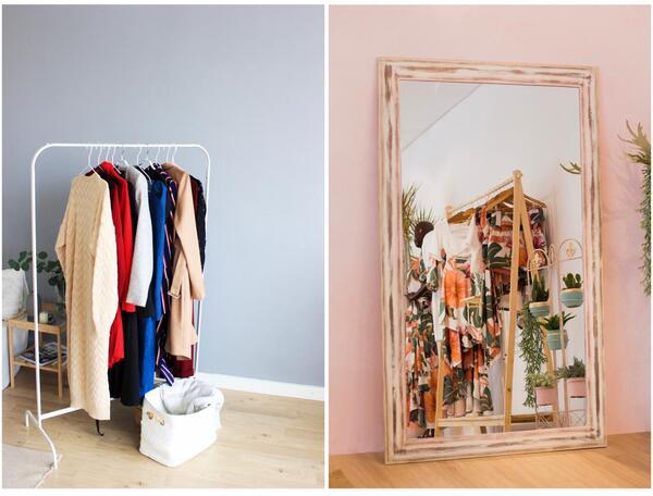 Montagem de duas fotos com uma arara de roupa