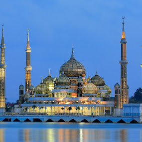 Night View of Crystal Mosque in Kuala Terengganu, Malaysia by Stanley Loong - Buildings & Architecture Public & Historical ( kuala terengganu, blue sky, riverside, mosque, malaysia, scenery, crystal, nightscape, , serenity, blue, mood, factory, charity, autism, light, awareness, lighting, bulbs, LIUB, april 2nd, mood factory, color, moods, colorful, mood-lites, city at night, street at night, park at night, nightlife, night life, nighttime in the city )