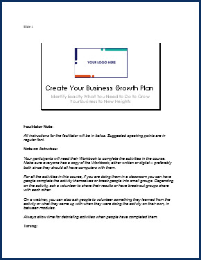 Create Your Business Growth Plan - Speaker Notes