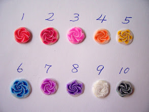"""Photo: Rose canes: $3.50 per inch long with a Diameter = 1/2"""" inch around Colors 1. Red, 2. Red Pearl, 3. Fuchsia, 4. Orange, 5. Yellow, 6. Cobalt Blue, 7. Violet, 8. Purple, 9. White, 10. Black. If you would like to order a bigger size or another color, please e-mail Jane."""