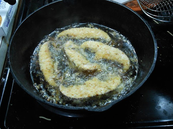 "Pan fry in about 2"" of canola or olive oil till brown, on both..."