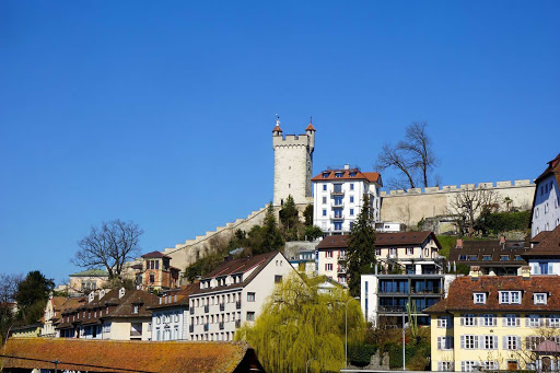 The Musegg Wall and its nine towers are part of the historic fortifications in Lucerne, Switzerland, forming a striking crown around the Old Town.