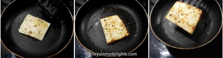 Cook the paneer slice to make veg sandwich recipe
