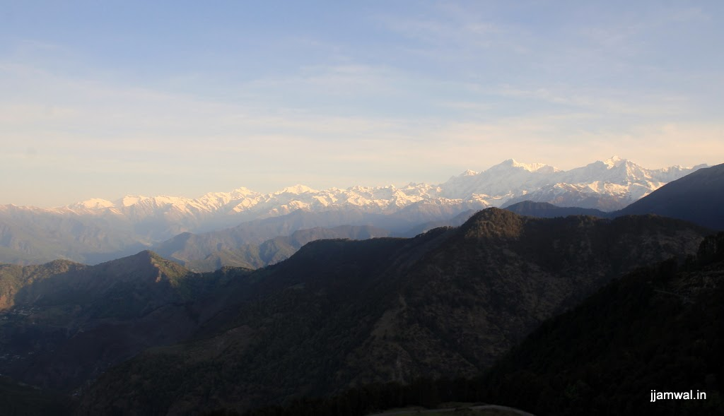 Sunrise view of Himalayan mountains from campsite