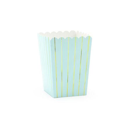 Popcornboxar - Ljusblå med guldränder