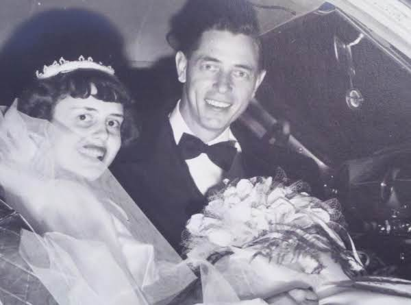 The Happy Couple On Their Wedding Day, January 9, 1954.