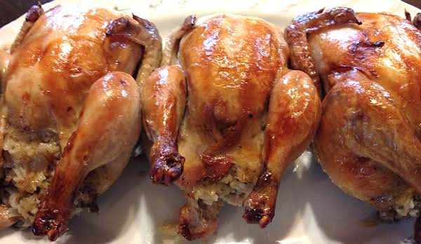 Roasted Cornish Hens With Rice Stuffing
