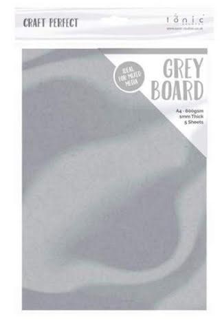 Tonic Studios Craft Perfect Grey Board A4 5/Pkg