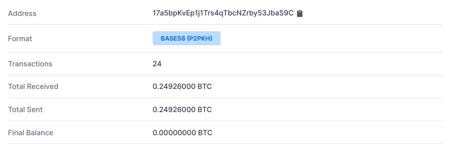 Adresse Bitcoin appartenant au supposé terroriste Fayzimatov montrant sa transaction de 0,25 bitcoin
