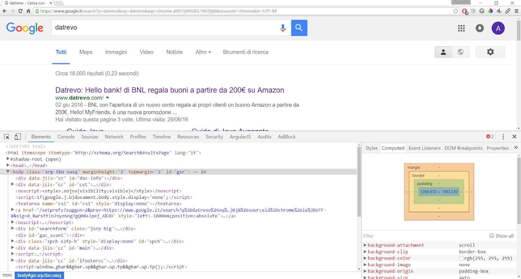 Google Developer Tools - Elements
