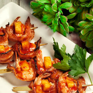 Shrimp, Pineapple and Bacon Skewers.
