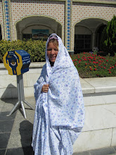 Photo: Day 151 -  Dee in Chador at Holy Shrine