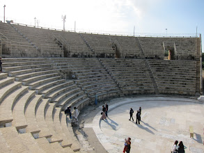Photo: Partially reconstructed Roman theater in Caesaria (built by Herod and used by Pilate).