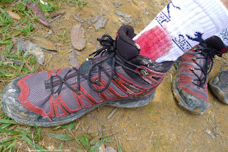Photo: Jason Ong's shoes - Three leeches attacking at the same area