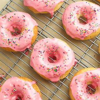 Baked Vanilla Donuts with Raspberry Glaze {Gluten Free}.