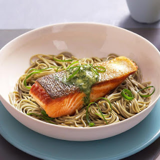Grilled Salmon Steaks with Wasabi and Dill Butter.
