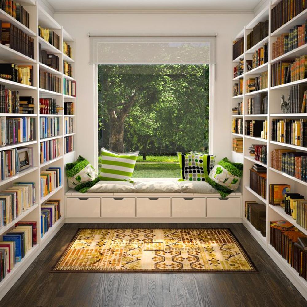 Tận dụng ánh sáng mặt trời cho không gian phòng đọc sách