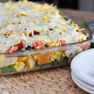 Mexican Cornbread Layered Salad.