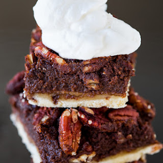Boozy Chocolate Pecan Pie Bars