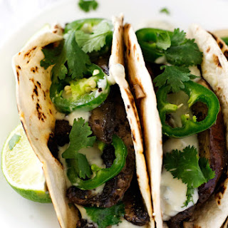 Roasted Balsamic Portobello Tacos with Gorgonzola Sauce