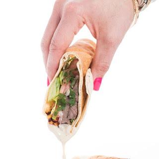 Beef Shawarma Pitas with Tahini Dipping Sauce.