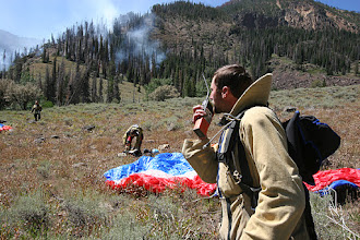Photo: Initial attack for Boise BLM Smokejumpers.