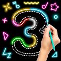 Draw Glow Number - Learn To draw glow Flowers icon