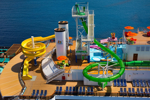 The Green Thunder waterslide on Carnival Legend, Carnival Pride and Carnival Spirit offers a short but thrilling ride.