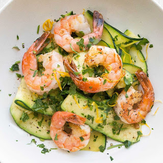 Shrimp with Zucchini Noodles and Lemon-Garlic Butter.