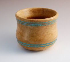 "Photo: Tom Ankrum - Bowl with inlay - 3"" x 4"" - Persimmon, Turquoise"