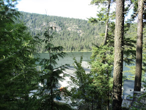 Photo: view from the bunkhouse above the cabin. The boys slept here