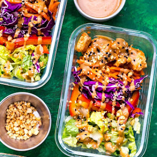 Thai Chicken Meal Prep Bowls with Peanut Sauce.