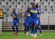 Siphelele Mthembu of Cape Town City celebrates goal with teammates during the Absa Premiership 2018/19 football match between Cape Town City FC and AmaZulu at Cape Town Stadium, Cape Town on 27 October 2018.