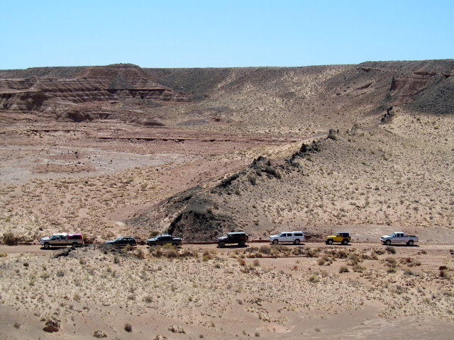 Convoy parked near the volcanic dike