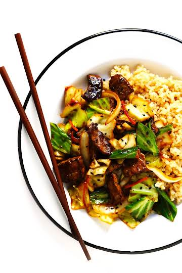 Sesame Beef and Cabbage Stir-Fry | Gimme Some Oven
