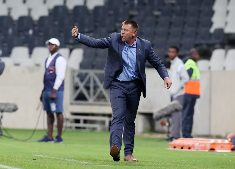 Eric Tinkler, coach of Supersport United during the Absa Premiership 2017/18 match between Supersport United and Ajax Cape Town at Mbombela Stadium, Mpumalanga South Africa on 29 November 2017.