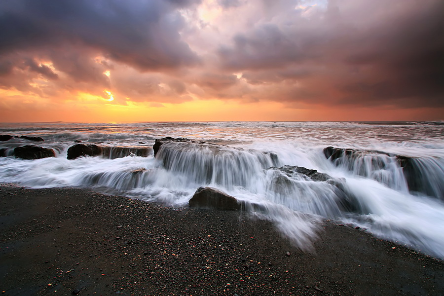 Cloud Over Manyar Beach by Agoes Antara - Landscapes Waterscapes
