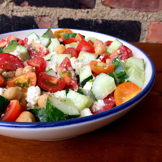 Cucumber Tomato Salad with Feta and Chickpeas