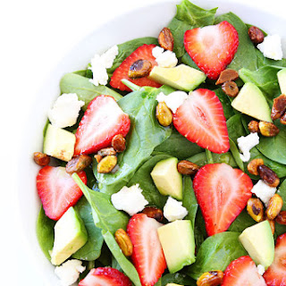 Strawberry Spinach Salad with Avocado, Goat Cheese, and Candied Pistachios