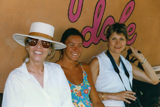 Photo: Outside the Pink Adobe restaurant in Santa Fe, NM: Jeannene, Anne, and Thérèse; 1996  KMH