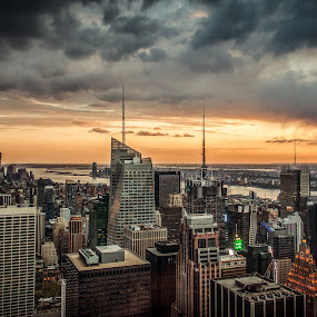 Top of Rock pt.II by Brad Kalpin - City,  Street & Park  Skylines ( clouds, rockefeller, sunset, cloudy, empire state building, manhattan, nyc, beauty, new york city, ny, empire state, city )