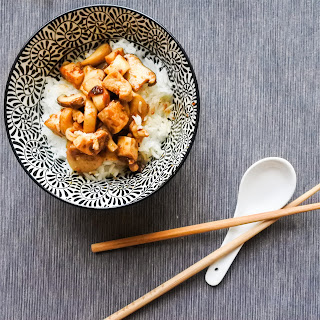Tofu and Mushrooms in Soybean Sauce.