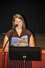 """Photo: We launched immediately into the book's second section, """"There,"""" with a poem by Monica Schley."""
